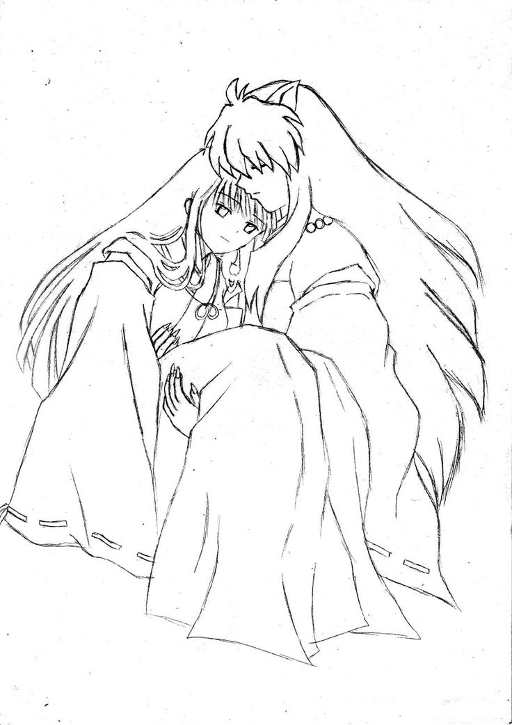 This Manga Anime Series Depicts The Story Of Inuyasha A Half Demon And Kagome Higurashi Cartoon Coloring PagesColoring
