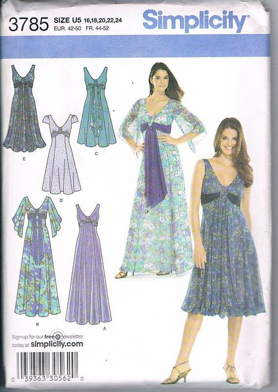Simplicity 3785 Misses Dress in Three Lengths with Sleeve
