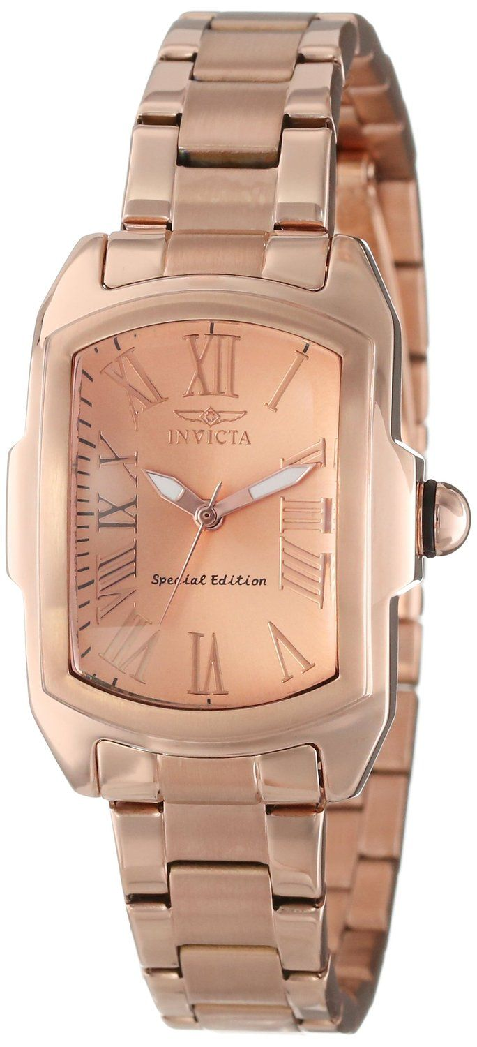 "women's watches: Gold watches for women Invicta Women's 15158 ""Lupah"" 18k Rose Gold Ion-Plated Watch"