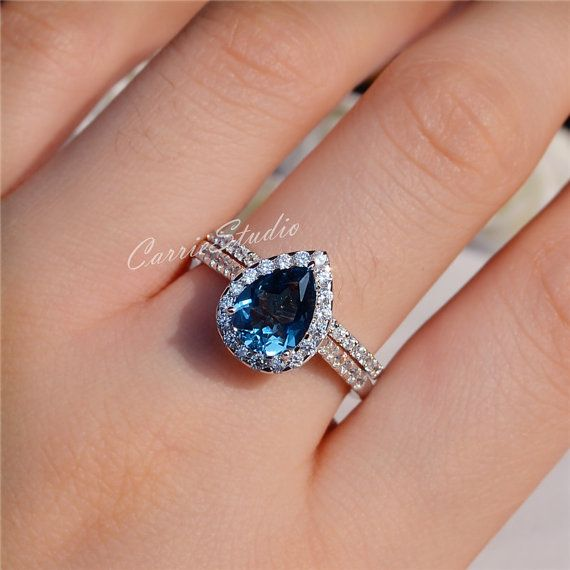 7*9mm Natural London Blue Topaz Ring Set Engagement Ring ...