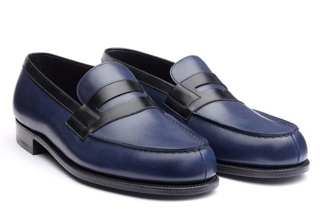 Brand new JM Weston Iconic Loafer- The Mocassin 180 - Black & Ocean Blue