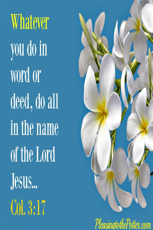 Whatever you do in word or deed do all in the name of the Lord Jesus. Colossians 3:17