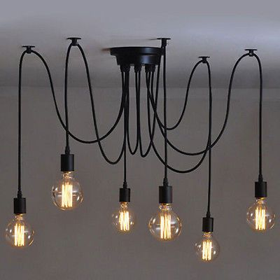 6 Heads Vintage Industrial Ceiling Lamp Edison Light Chandelier Pendant Lighting