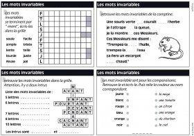 Des exercices pour travailler les mots invariables en CE1.