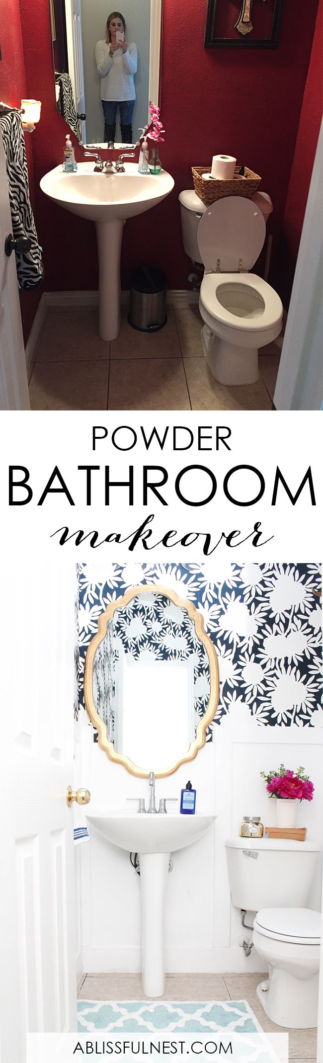 This is such a huge transformation on this bathroom with very few updates. Checkout how with a few simple changes and inspiration from @deltafaucet , you can get a wow factor bathroom remodel. See more on http://ablissfulnest.com/ #bathroomremodel #bathroommakeover #ad #deltafaucet #deltaliving