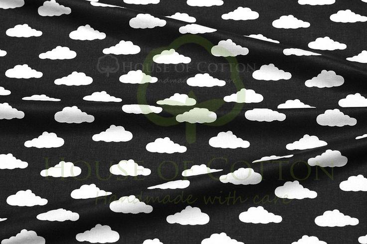 Bawełna czarno-białe chmurki - houseofcotton - Bawełna