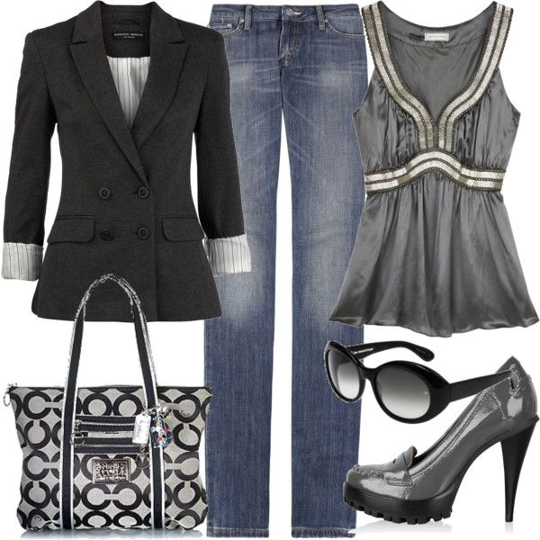 Everyday Outfit: Date Night, Shoes, Coach Pur, Casual Friday, Coach Bags, Shirts, Jackets, Jeans, Black Blazers