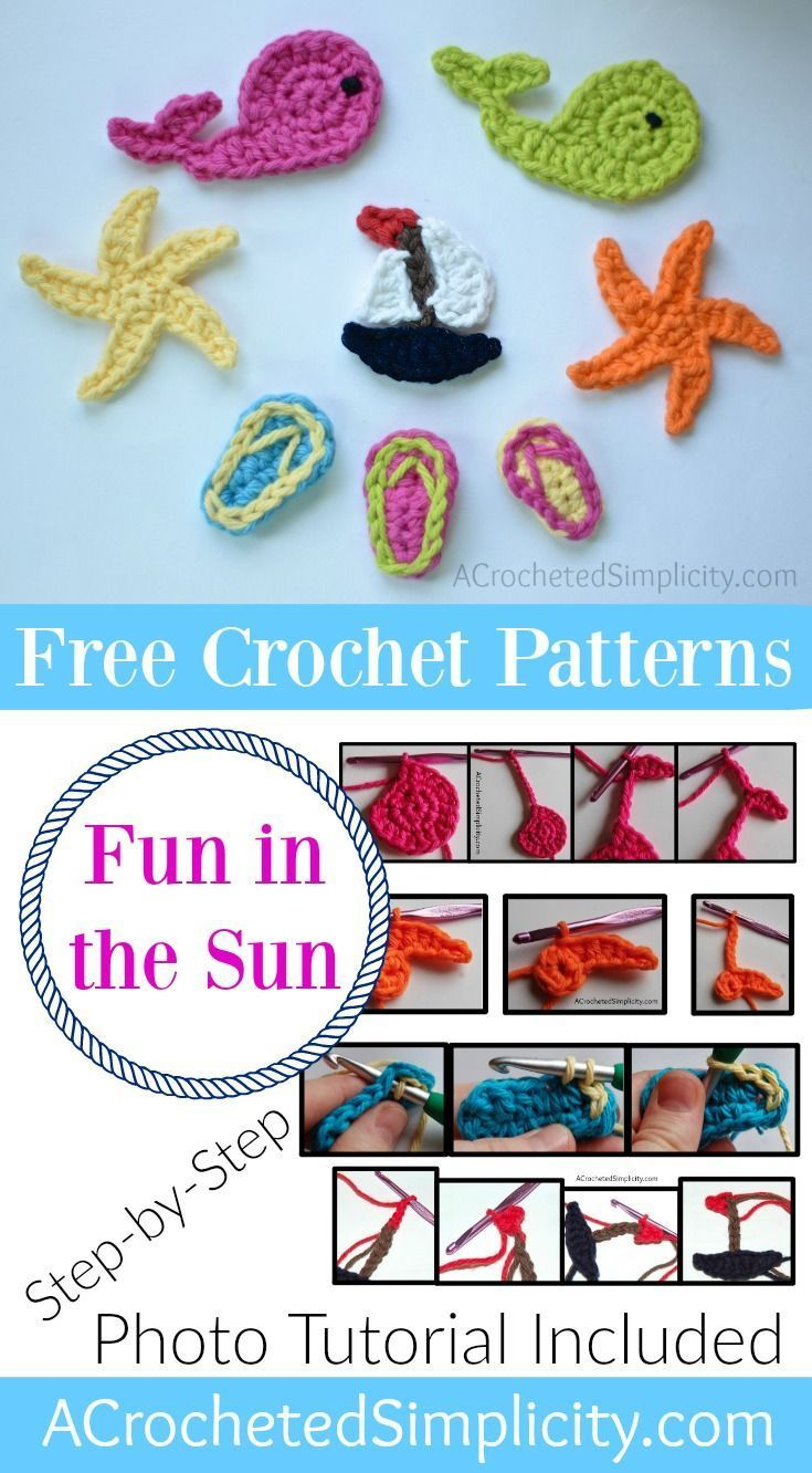 Free Crochet Patterns Fun In The Sun Crochet Appliques On The