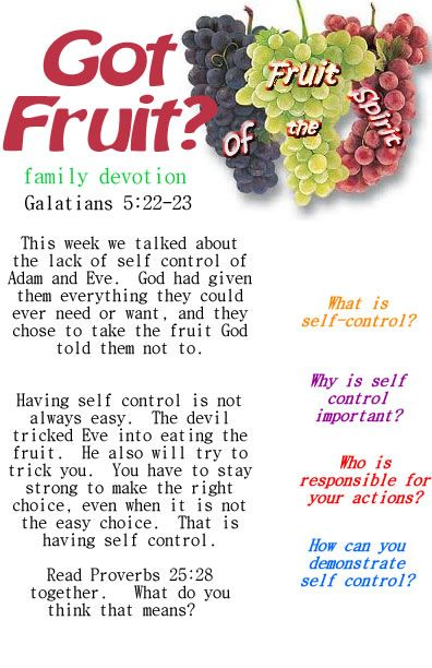 Fruit of the Spirit printable devotion on Self Control
