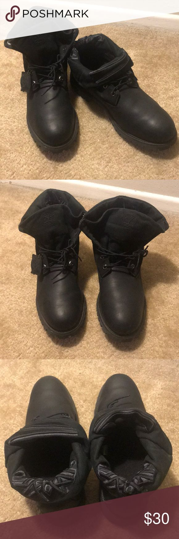 Men's Timberland All black Roll Top Fold Over Timberland Boots. No Box included. Small/minor scuffs (see pictures) Timberland Shoes Boots