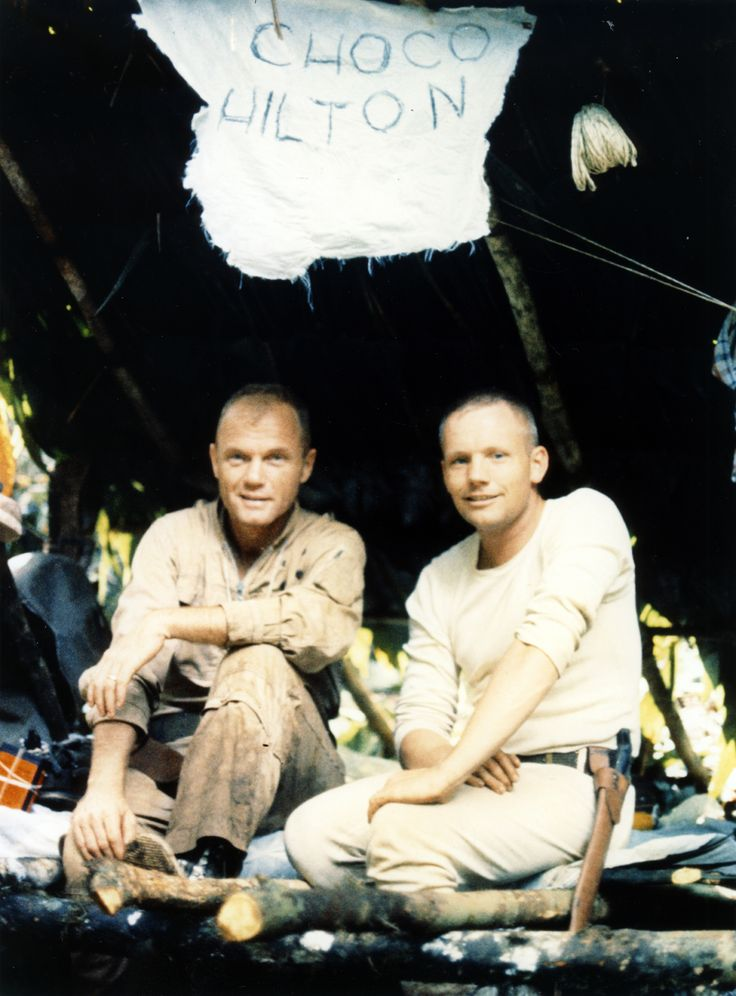 John Glenn and Neil Armstrong at jungle survival training in Panama