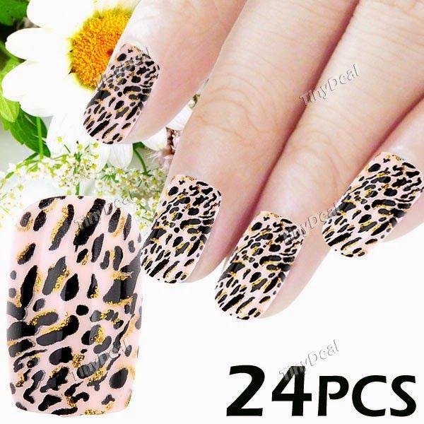 Интернет - магазины : Оригинальные накладные ногти с клеем, рисунок леоп...