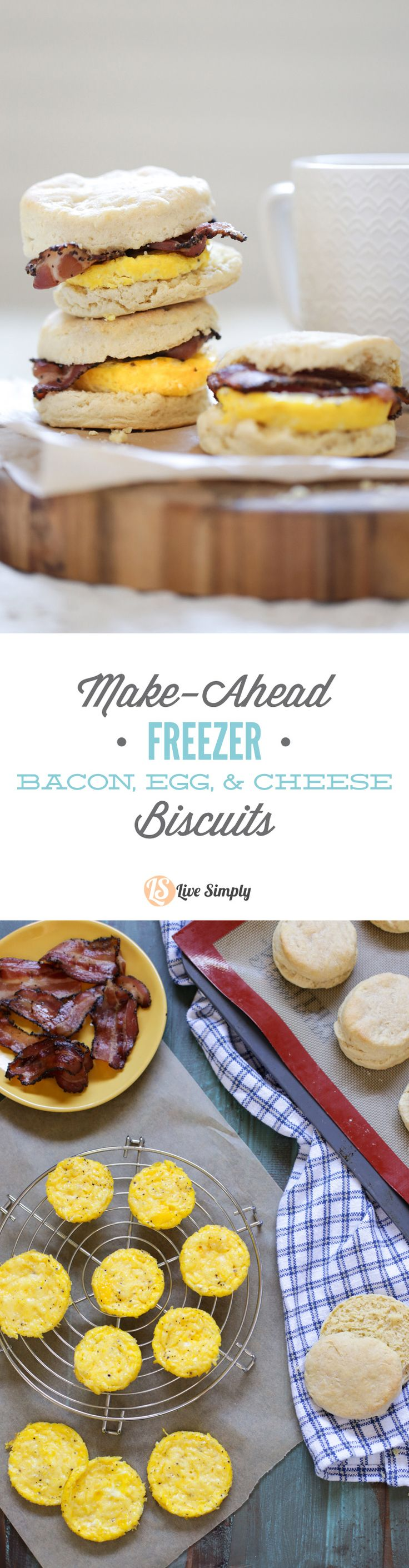 Homemade (real food style) bacon, egg, and cheese biscuits! Zero boxed or processed food ingredients. Plus, these sandwiches can be made in advance and frozen for later. The perfect busy breakfast meal.