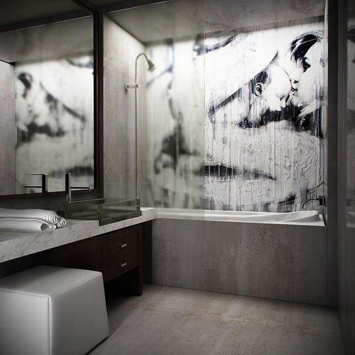 Настенная живопись в ванной комнате.   Мы живем в период, когда большинство городских квартир и домов строятся по шаблону. Как-то разнообразить наше жилище и внести краски в личное пространство ванной комнаты помогает настенная живопись. Фантазия всегда безгранична! #керамическая #плитка #дизайн #сантехника ▪Наши консультанты всегда рады помочь на сайте: http://santehnika-tut.ru/catalog/