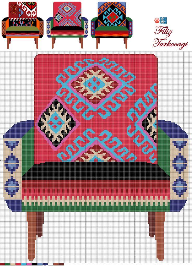 Bendeki kilimlerin hepsinde mutlaka kırmızı vardır. Kırmızı koltuk da bu yüzden :)) Designed by Filiz Türkocağı...( Turkish KİLİM )