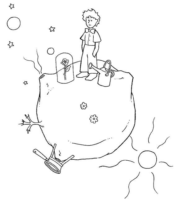 Pequeno Príncipe no seu planeta  Colorir