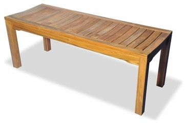 Teak Rosemont Backless Bench 48 in. by Regal Teak contemporary-outdoor-benches