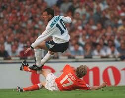England 4 Holland 1 in 1996 at Wembley. Jordi Cruyff slides tackles Teddy Sheringham in Group A at Euro '96.