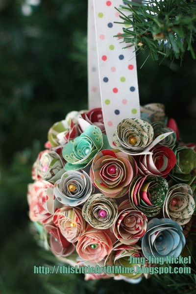 Rolled Rose ornament/ball using a Styrofoam ball, pearl head push pins and scrapbook paper