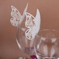 Wish | 50 pcs Table Mark Wine Glass Cards Favor Butterfly Name Place Party Wedding Topselling
