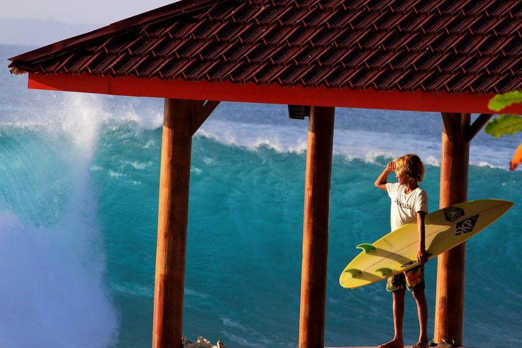 View of the wave from the gazebo in front of Sozinhos Surflodge on Asu Island. Nias, North Sumatra, Indonesia.