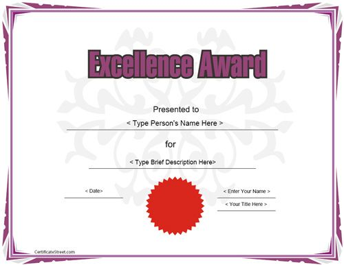 9 best Award Certificate Templates images on Pinterest - award of excellence certificate template