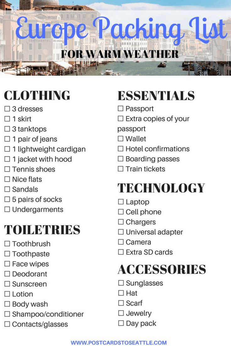 Headed to Europe during the warm weather? Here's a downloadable Europe packing list for the summer!