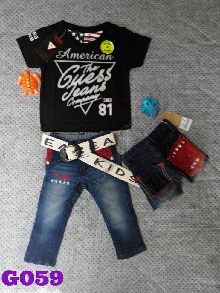 T-shirt Guess baby set (glow in the dark), jeans, belt (G059) || Size 2-12 bulan || IDR 125.000