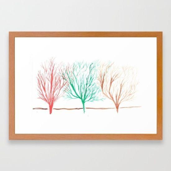 Small Framed 15 x21  Watercolour Trees Home Decor Fine Art Giclee Print Decor