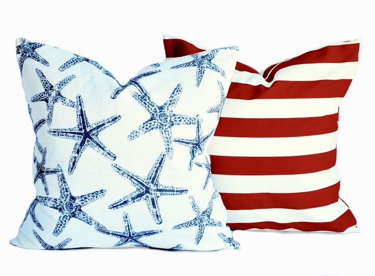 2 Nautical pillow covers, 1 starfish and 1 striped, cushion, decorative throw pillow, Red pillow, Navy Pillow, accent pillow, pillow case by ThatDutchGirlHome on Etsy