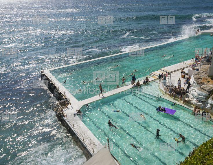 Bondi Beach Bondi Icebergs Swimming Club Sydney Australia Copyspace Stock Footage | Royalty-Free Stock Photo Library | 10405092
