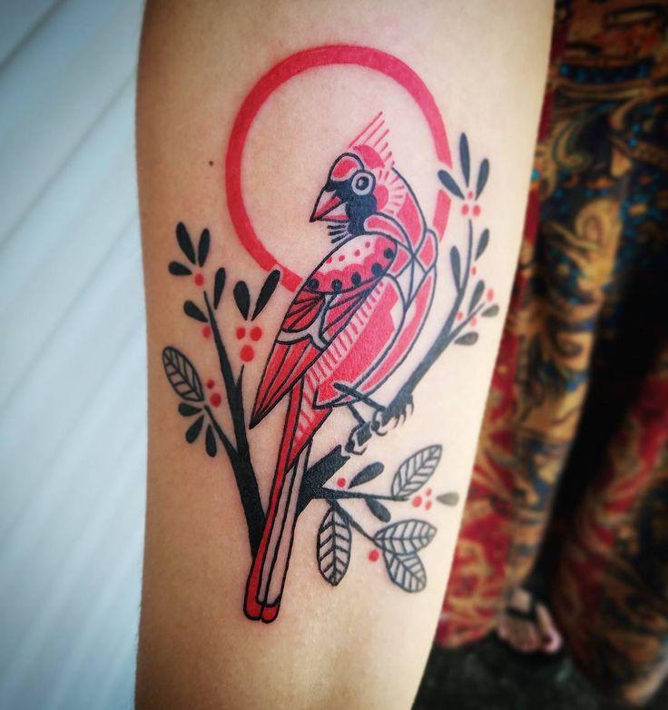 #tattoo #tattooartist #ladytattooer #kentuckytattooers #linework #illustration #colortattoo #cardinal #cardinaltattoo