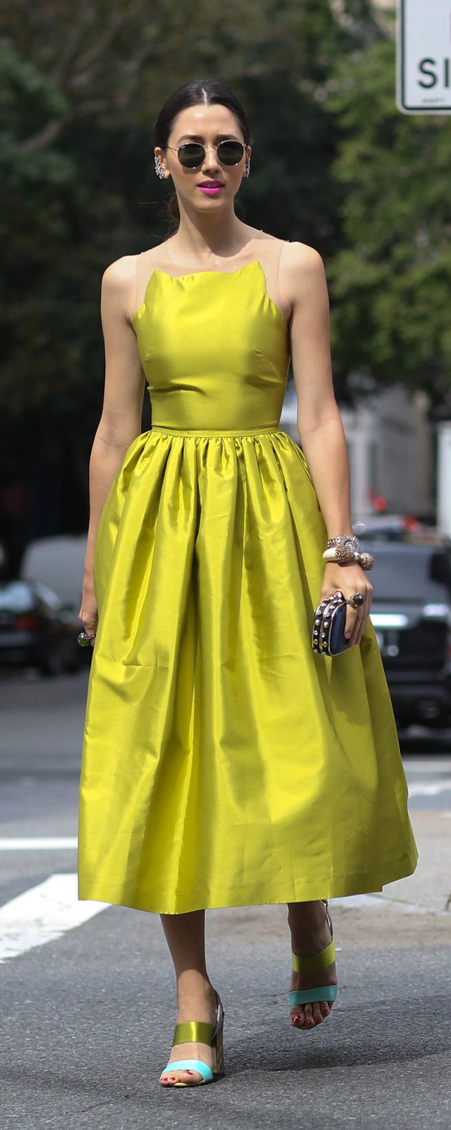 #NYFW Spring 2015 Street Style | Chartreuse Dress