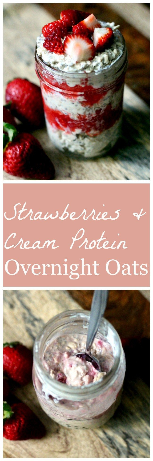 Thanks to a bit of vanilla protein powder, these strawberries and cream overnight oats are a healthy excuse to eat dessert for breakfast.