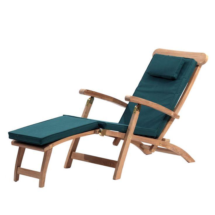 outdoor sun lounger and cushion strong teak wood garden recliner sc 1 st pinterest