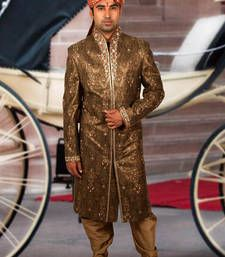 Buy copper brocade embroidered sherwani wedding-sherwani online