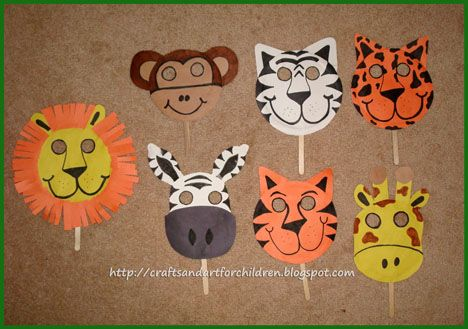 Crafts~N~Things for Children: Jungle Safari Birthday Party- paper plate animal masks