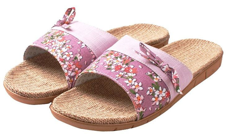 Blubi Women's Flower Print Open Toe Flax Summer Slippers Light House Slippers *** Read more  at the image link.