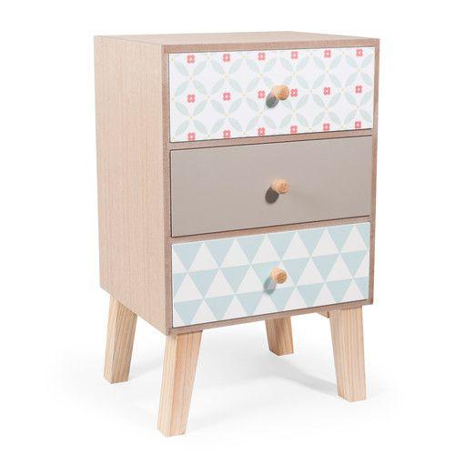 SEVENTIES houten 3 laden meubel L 24 cm