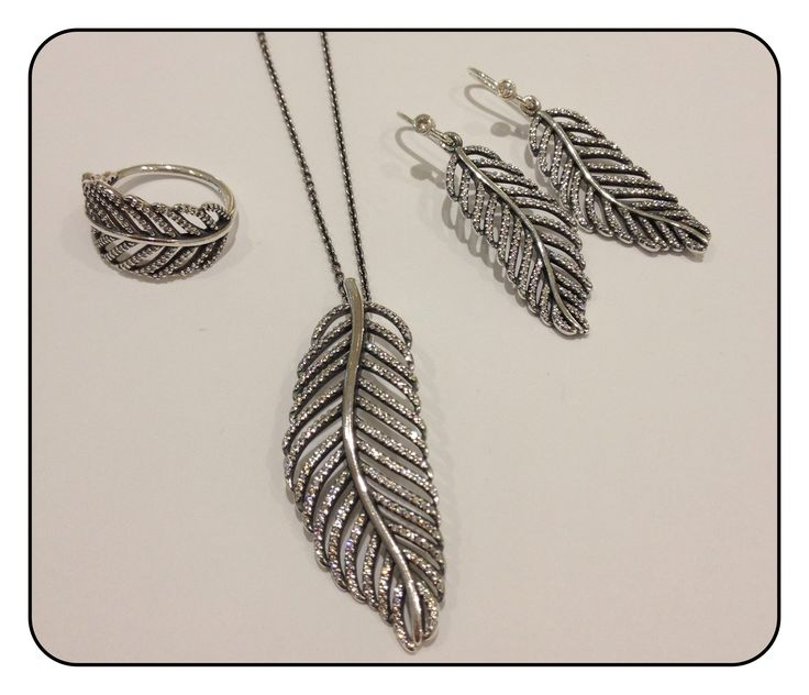 New Pandora Range Enchanted Forest Silver Feather Ring