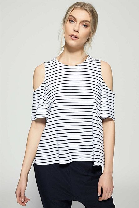 Stripe Cut Out Shoulder Top