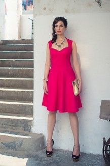 Electric Pink Fit And Flare Dress