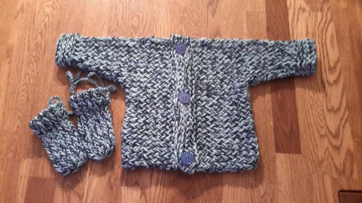 Baby jacke mit Handschuhen - Strickring