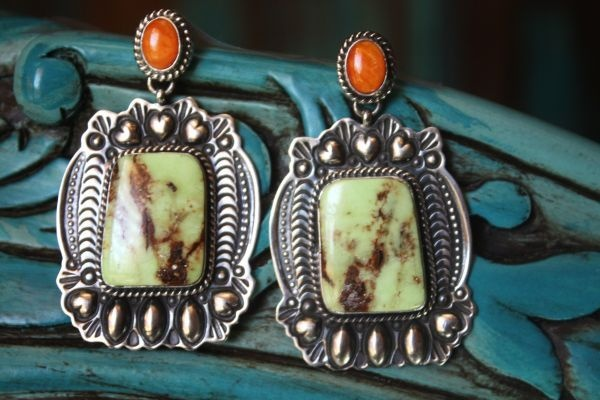 Darryl Becenti Turquoise and Coral Earrings from Cowgirl Kim - wow!