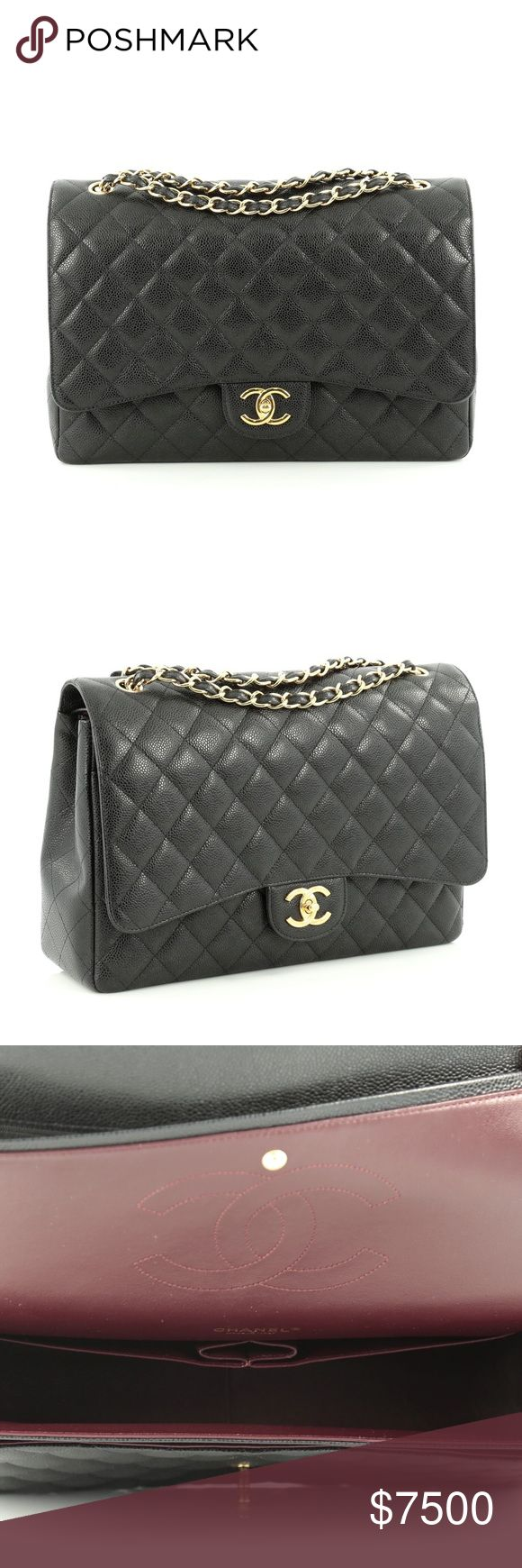 CHANEL Double Flap Maxi Black The coveted Chanel Double Flap, Quilted Caviar Maxi! RARE!! This is the most gorgeous bag I own and not 100% certain I want to sell. There are NO TRADES (please don't ask - I will not respond).  Serious buyers only. CHANEL Bags