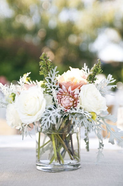 pastel: Belle Jars, Flowers Wedding, Simple Centerpieces, Flowers Colors, Flowers Pictures, Style Me Pretty, Wedding Centerpieces, Dusty Miller, Fall Wedding
