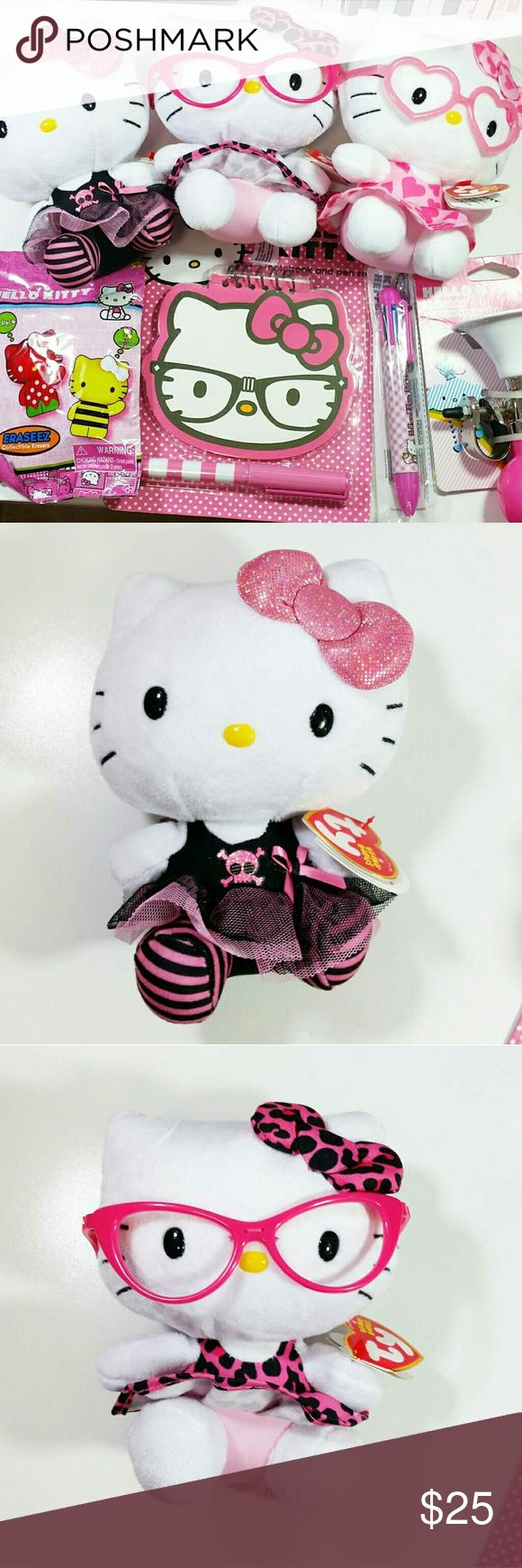 Adorable Hello Kitty Bundle This cute Hello kitty bundle includes 3 Hello kitty Beanie,  one bike horn, one multiple color pen, one set of erasers, and one hello kitty notebook & pen set. Hello Kitty Other
