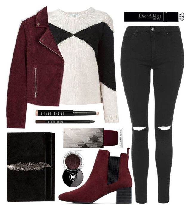 """RED"" by laurabustard ❤ liked on Polyvore featuring Chanel, Zara, Valentino, Topshop, Burberry and Bobbi Brown Cosmetics"