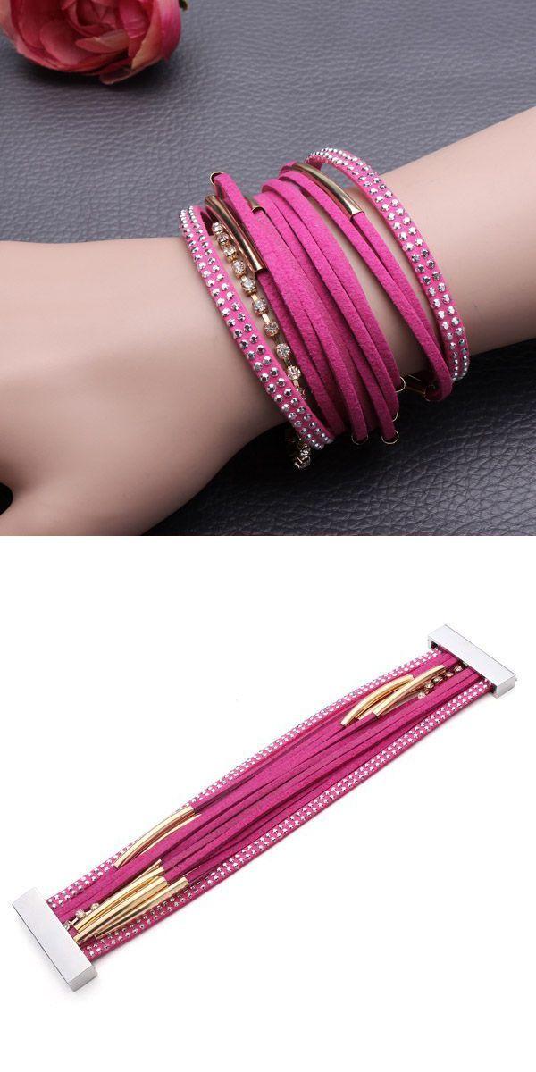 Rhinestone leather braid wrist magnetic multilayer pipe bracelet bracelets a messages #bracelets #damitié #patrons #bracelets #hippie #bracelets #of #fortune #p #cord #bracelets