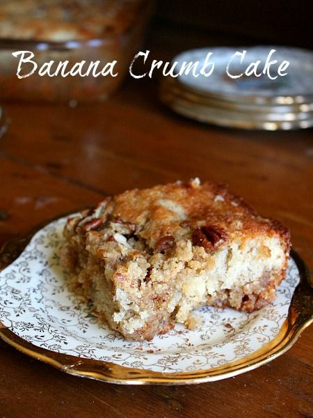 banana crumb cake is an easy brunch or afternoon snack -- and a great way to get rid of past-their-prime bananas!